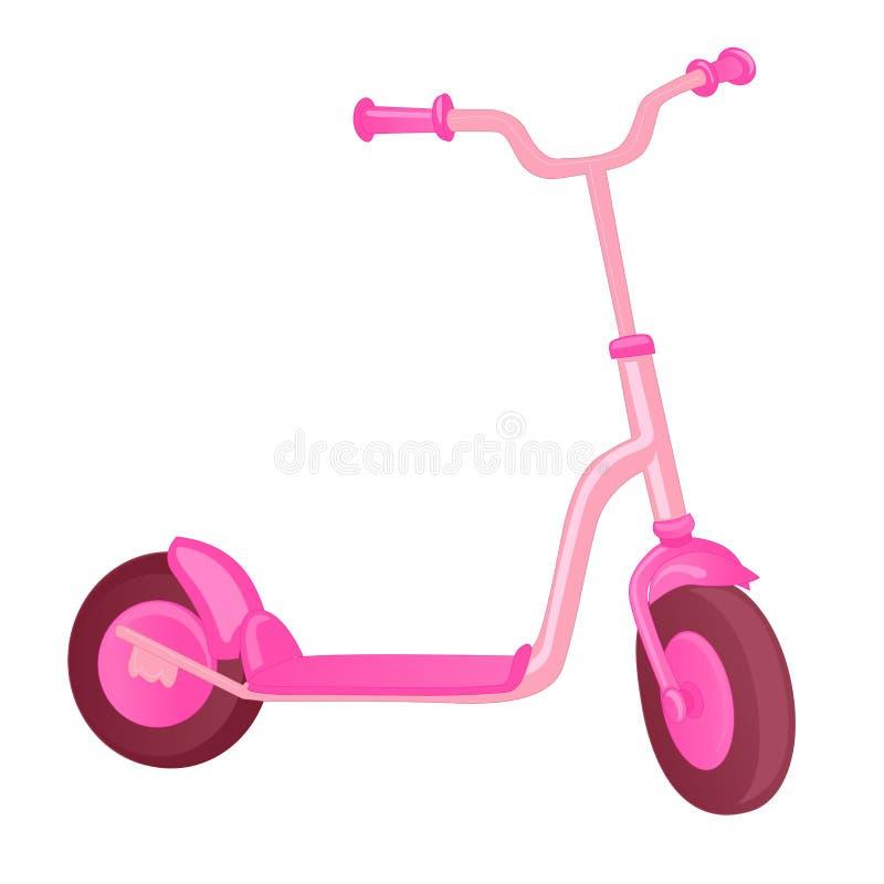 孩子的桃红色路辗滑行车 平衡自行车 Eco市运输 传染媒介反撞力滑行车汇集 推挤在白色隔绝的周期 向量例证