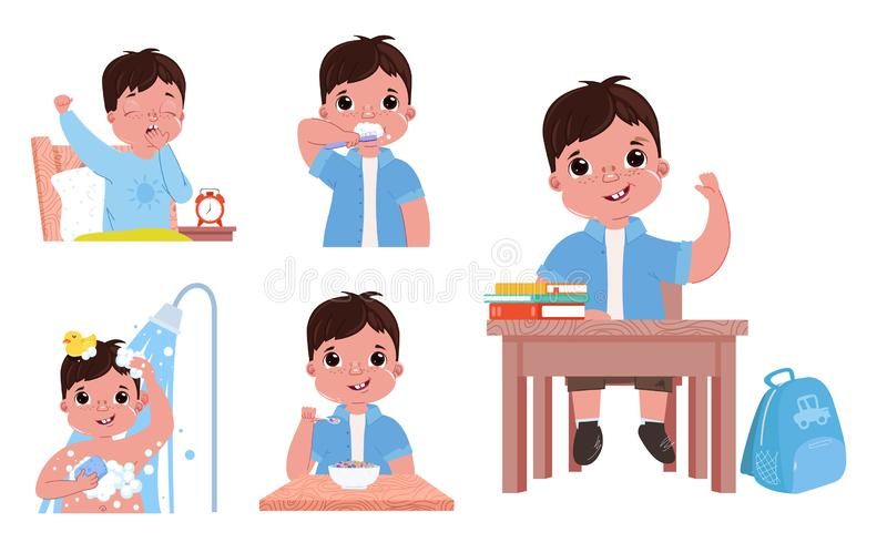 孩子的每日惯例是男孩 回到去的学校 醒和刷子牙,洗澡并且吃食用早餐 皇族释放例证