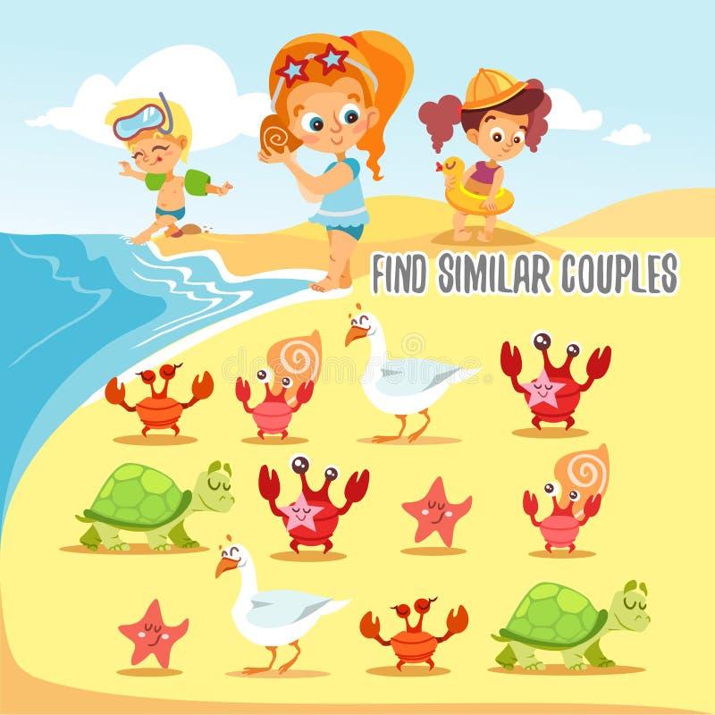 孩子的比赛与找到六个对逗人喜爱的海滩居民 库存例证
