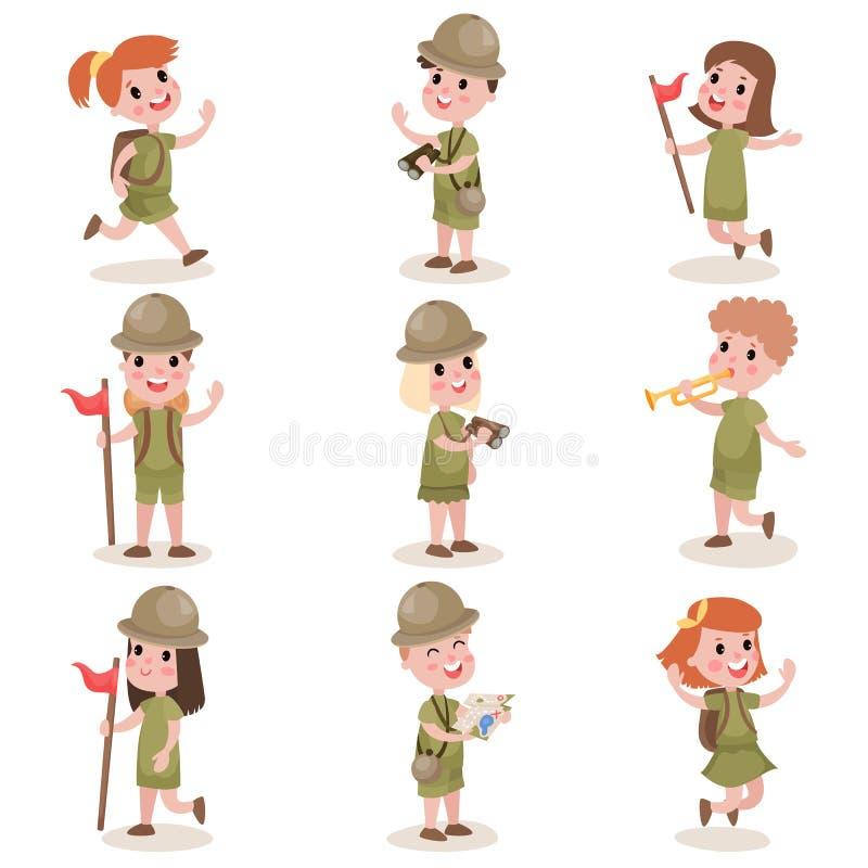 孩子的汇集侦察野营的成套装备,夏令营活动 皇族释放例证