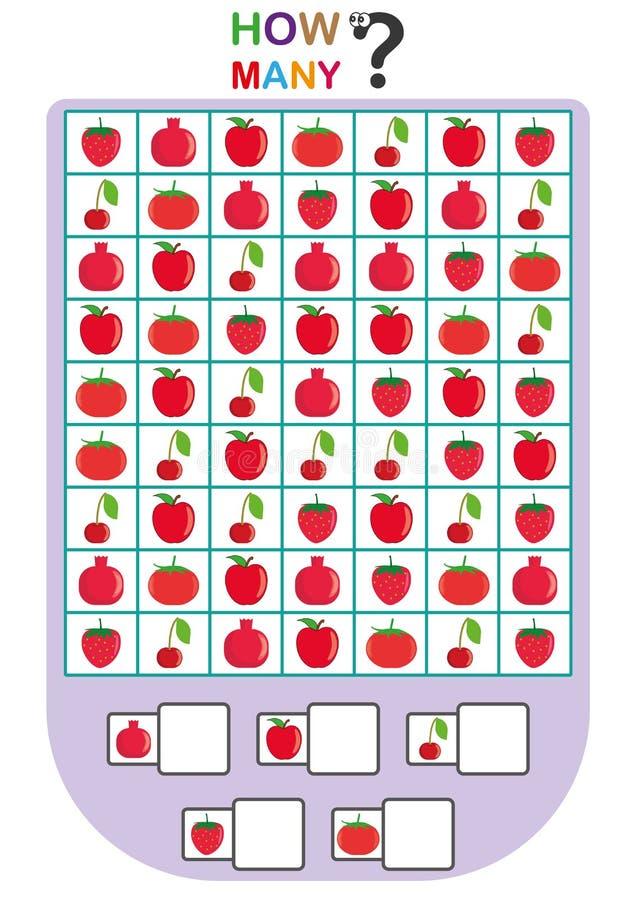 孩子的活页练习题,计数对象的数量,学会数字,多少个对象,教育儿童比赛 向量例证