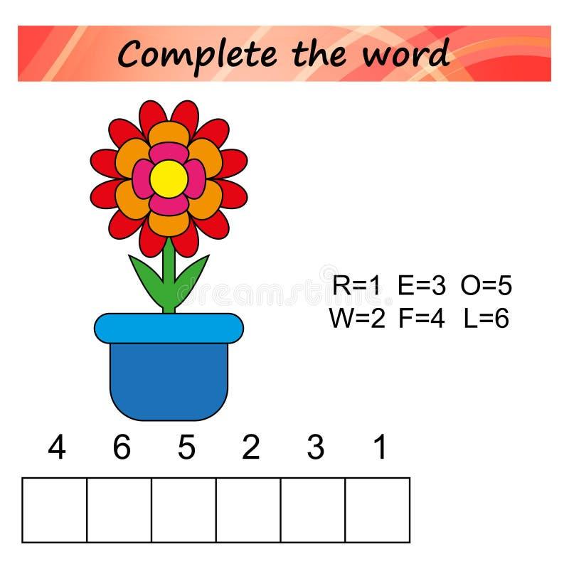 孩子的活页练习题 孩子的词难题教育比赛 按正确的顺序安置信件 向量例证