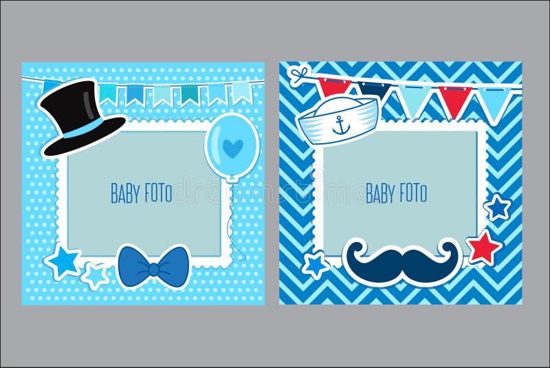 孩子的照片框架 男婴的装饰模板 剪贴薄传染媒介例证 库存例证