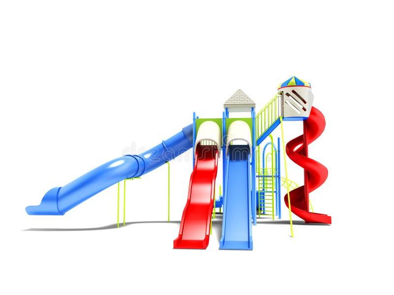 孩子的现代吸引力水滑道有房子3d rende的 皇族释放例证