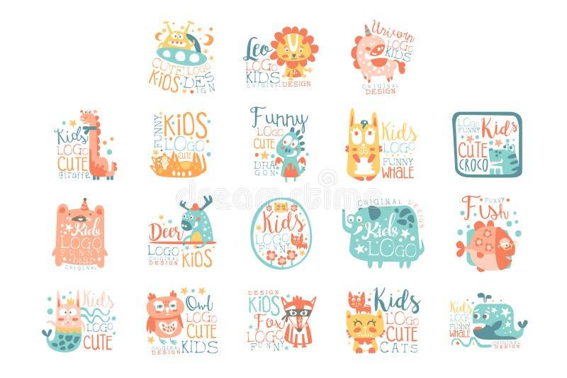 孩子的现代商标设计与动物和幻想字符 库存例证
