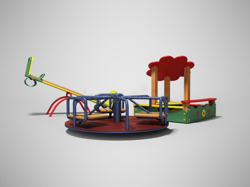 孩子的现代操场有沙盒和两摇摆的3d回报在与阴影的灰色背景 库存例证