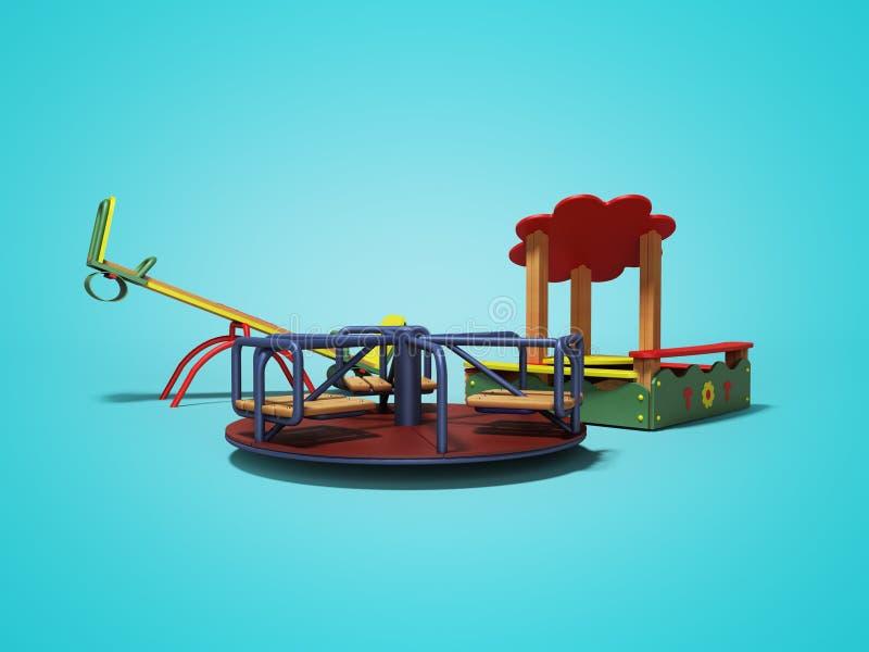 孩子的现代操场有沙盒和两摇摆的3d回报在与阴影的蓝色背景 向量例证