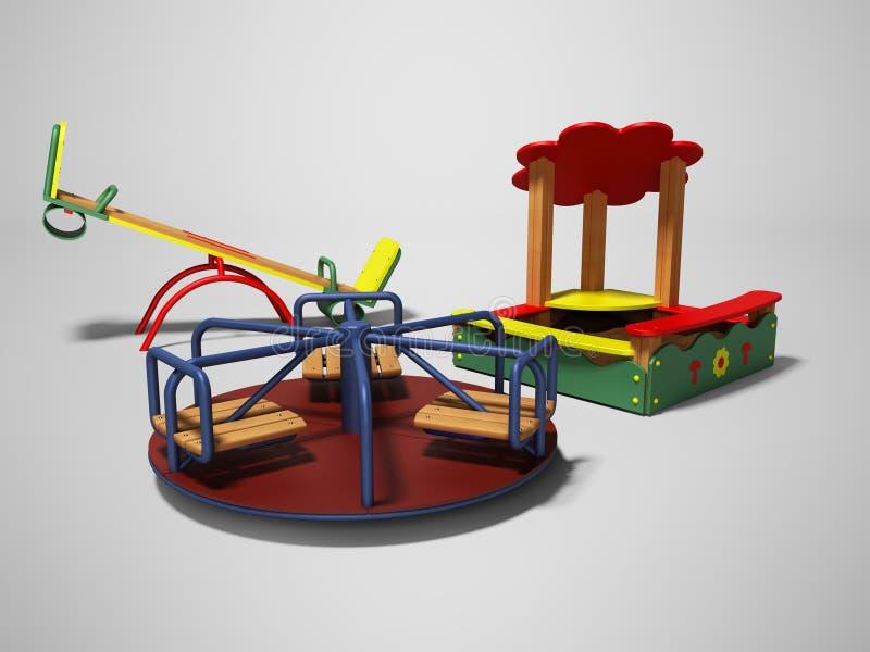 孩子的现代操场有沙盒和摇摆的3d回报在与阴影的灰色背景 向量例证