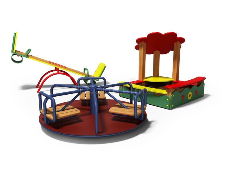 孩子的现代操场有沙盒和摇摆的3d回报在与阴影的白色背景 库存例证