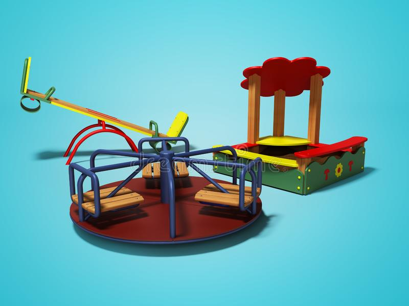 孩子的现代操场有沙盒和摇摆的3d回报在与阴影的蓝色背景 向量例证