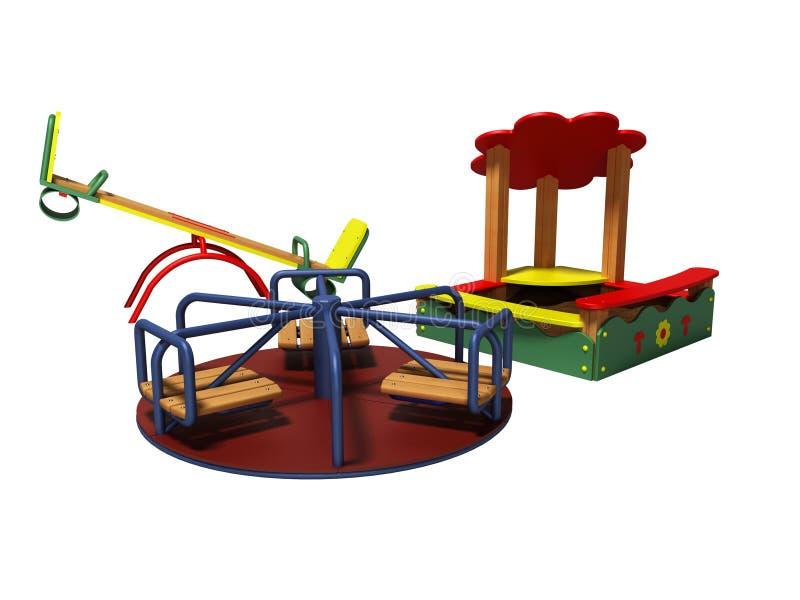 孩子的现代操场有沙盒和摇摆的3d回报在白色背景阴影 向量例证