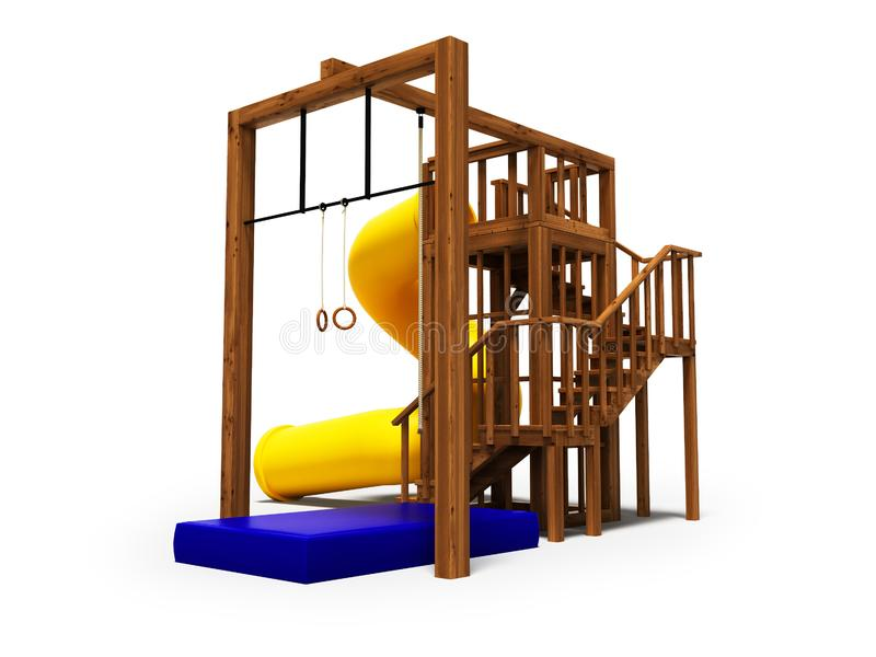 孩子的现代木操场与大黄色春天幻灯片3d回报在与阴影的白色背景 皇族释放例证