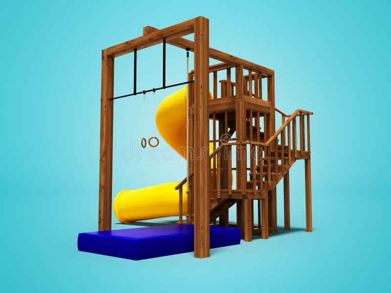 孩子的现代木操场与大黄色春天幻灯片3d回报在与阴影的蓝色背景 皇族释放例证