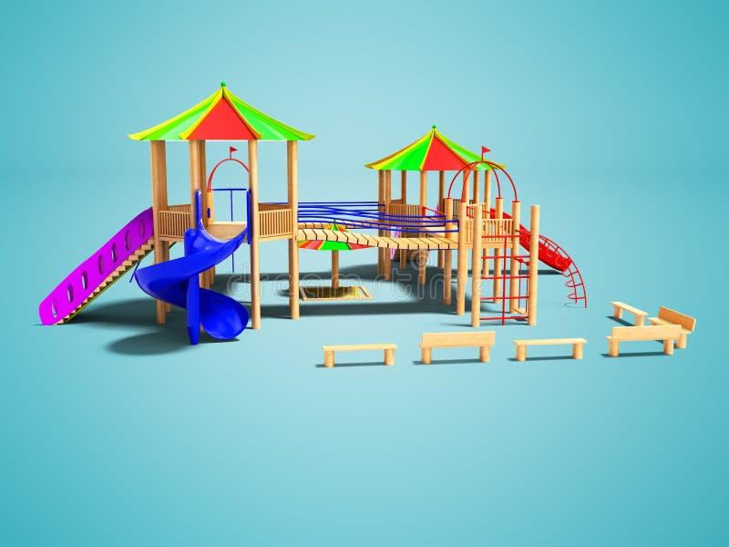 孩子的现代木操场有垂悬的梯子和s的 向量例证