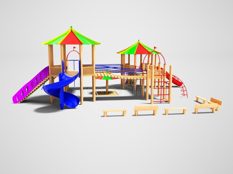 孩子的现代木操场有垂悬的梯子和s的 皇族释放例证