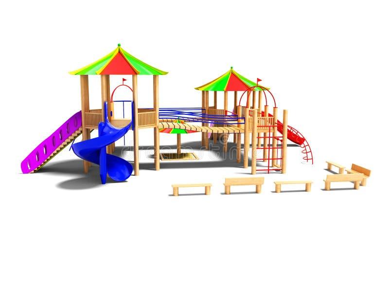 孩子的现代木操场有垂悬的梯子和s的 库存例证