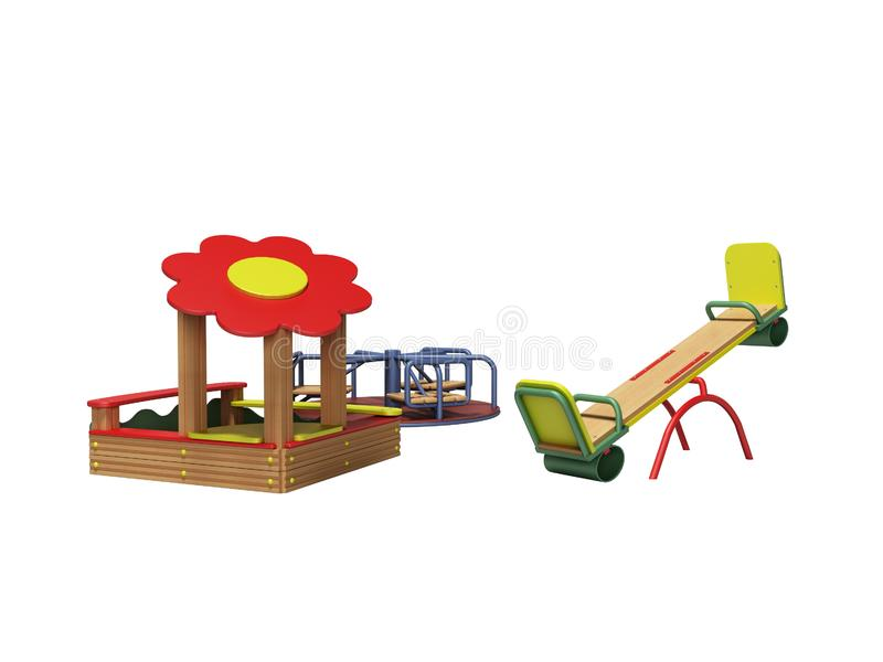 孩子的现代木操场有沙盒和两摇摆的3d回报在白色背景阴影 库存例证
