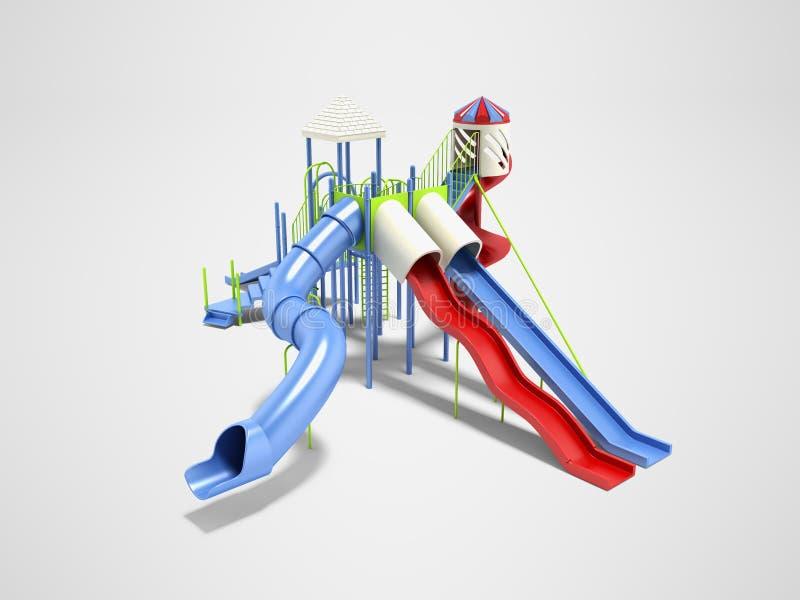 孩子的现代蓝色操场水在灰色背景的比赛3d renderer的与阴影 库存例证