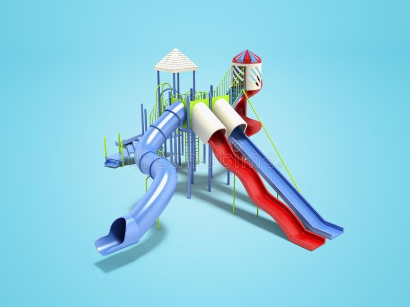 孩子的现代蓝色操场水在蓝色背景的比赛3d renderer的与阴影 皇族释放例证