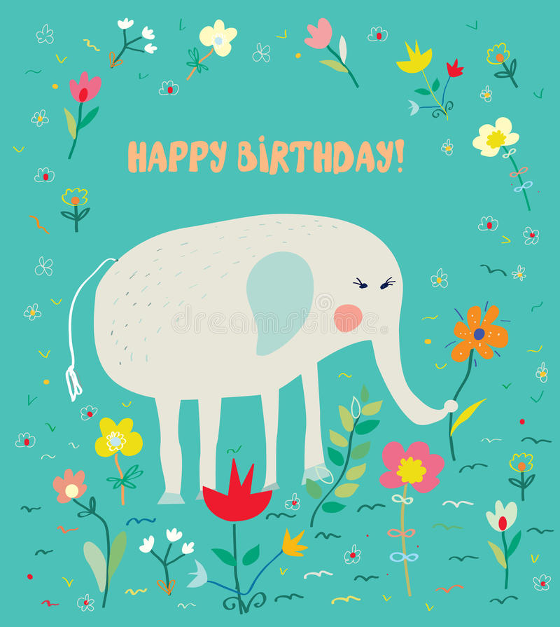 孩子的生日贺卡与大象和花-滑稽的设计 向量例证