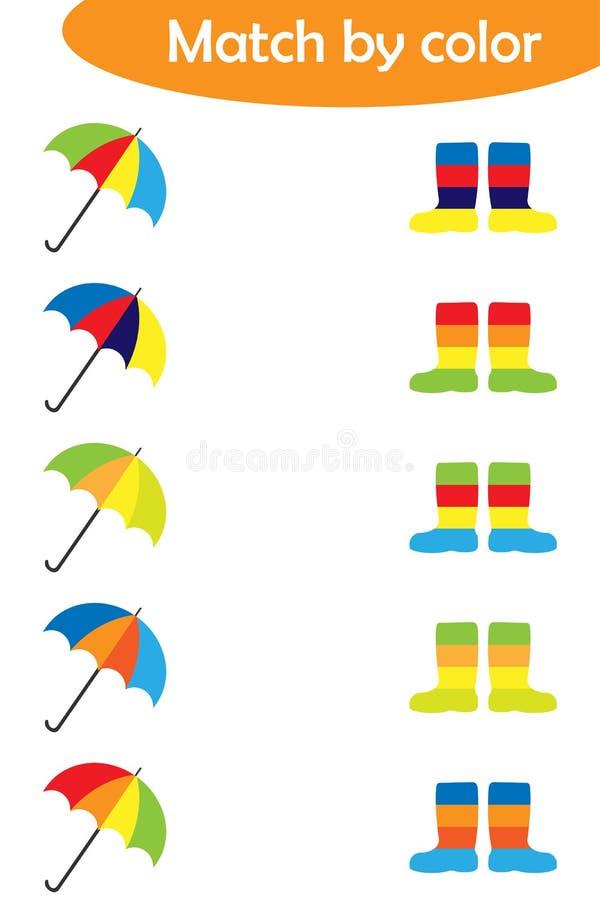 孩子的相配的比赛,用同样颜色起动连接五颜六色的伞,孩子的学龄前活页练习题活动的任务 库存例证