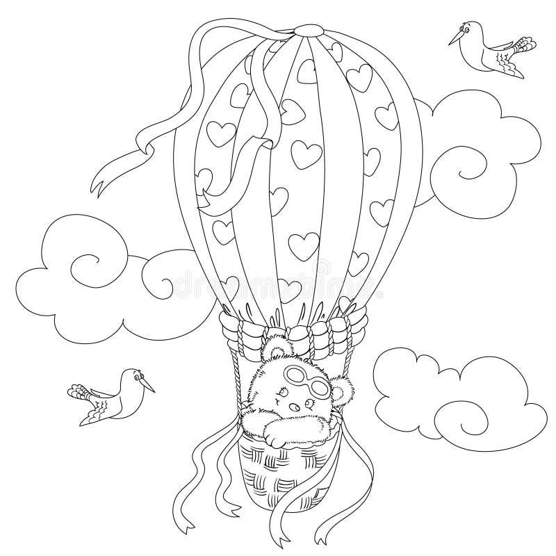 孩子的着色页与在一个热空气气球和一只滑稽的海鸥的一次逗人喜爱的玩具熊飞行 向量例证