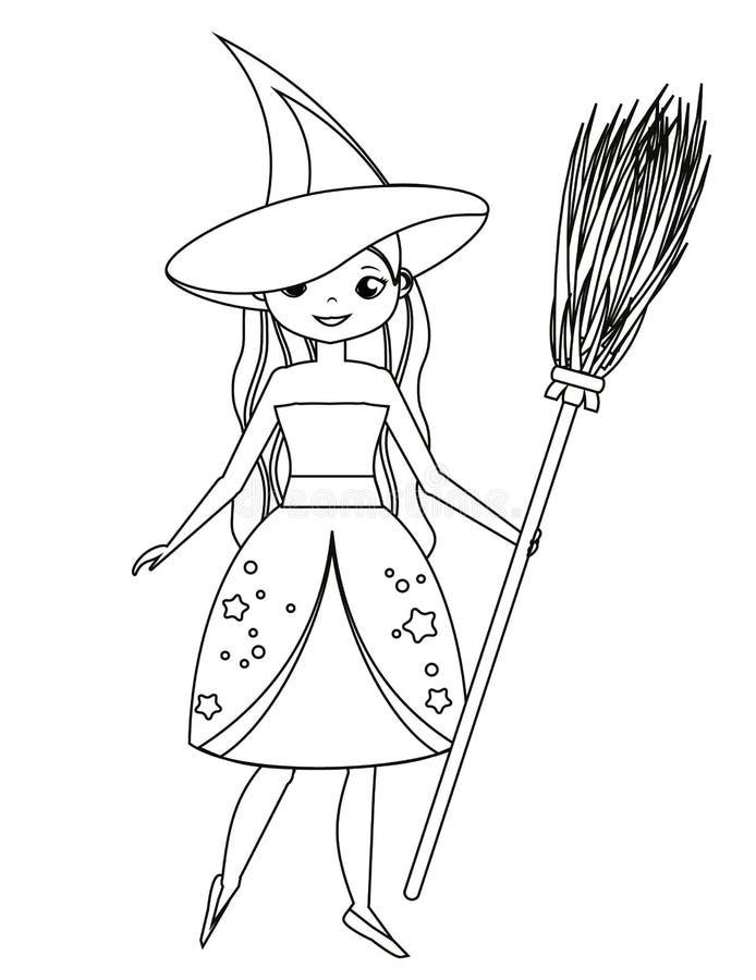 孩子的着色页 拿着笤帚的逗人喜爱的巫婆 服装女孩万圣节 图画哄骗活动 可印的乐趣 库存例证