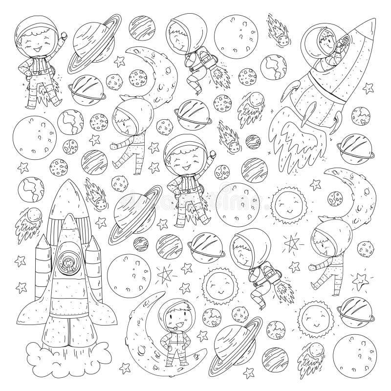 孩子的空间 着色页,书 孩子和波斯菊探险 冒险,行星,星 接地月亮 火箭 库存例证