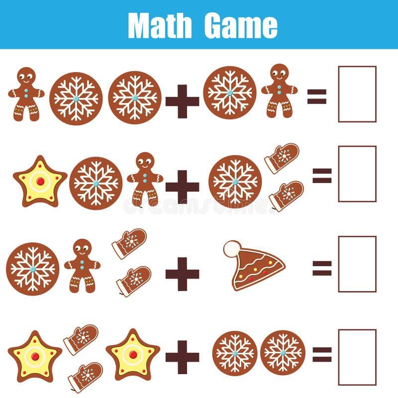 孩子的算术教育比赛 计数等式 加法活页练习题 背景能圣诞节使用的例证主题 库存例证