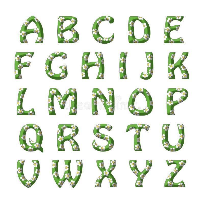 为孩子设置的草和花字母表 库存例证
