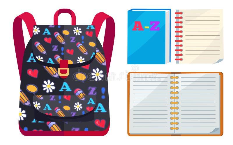 孩子的背包与ABC开放习字簿传染媒介 库存例证