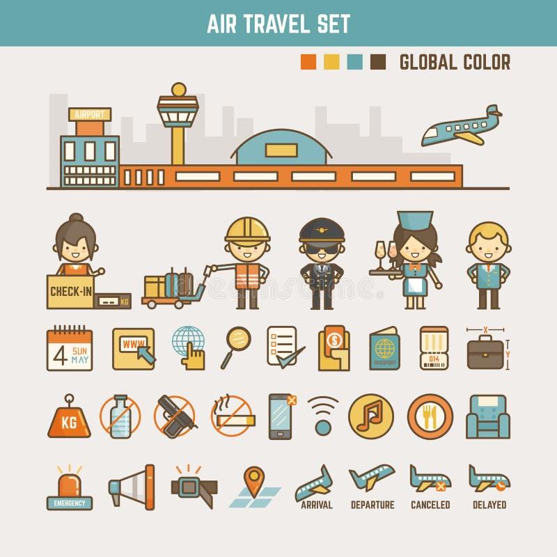 孩子的航空旅行infographic元素 皇族释放例证
