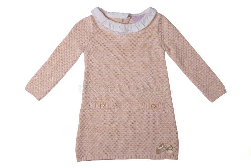 孩子的衣裳 有白色鞋带colla的桃红色女婴礼服 图库摄影