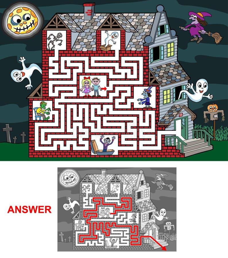 孩子的被困扰的家的迷宫(容易) 向量例证