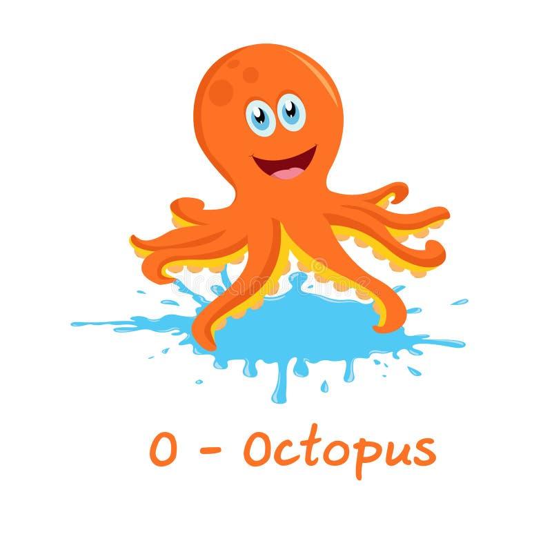 孩子的被隔绝的动物字母表,章鱼的O 向量例证
