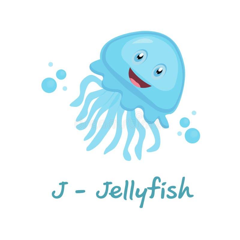 孩子的被隔绝的动物字母表,水母的J 向量例证