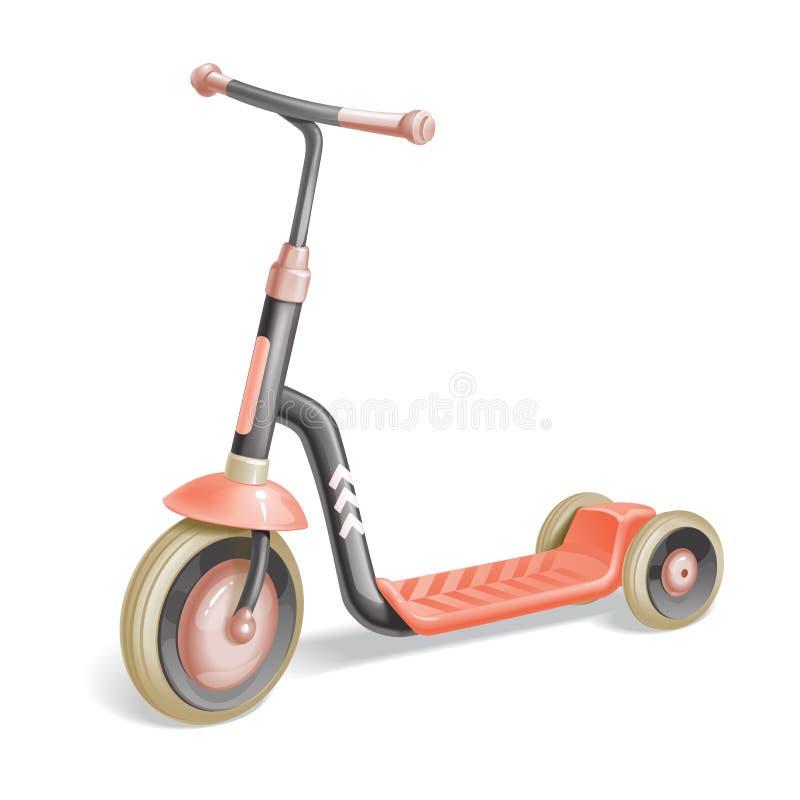 孩子的路辗滑行车 平衡自行车 Eco市运输 传染媒介反撞力滑行车汇集 推挤在白色隔绝的周期 皇族释放例证