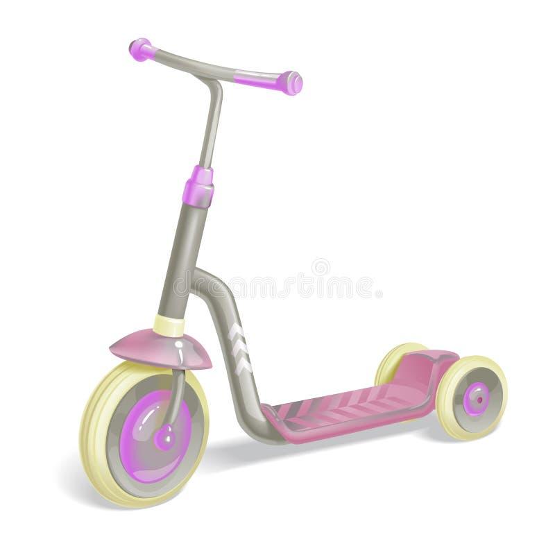 孩子的路辗滑行车 平衡自行车 Eco市运输 传染媒介反撞力滑行车汇集 推挤在白色隔绝的周期 向量例证