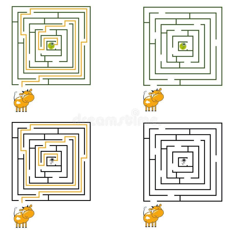 孩子的迷宫或迷宫比赛 也corel凹道例证向量 10 eps 库存例证