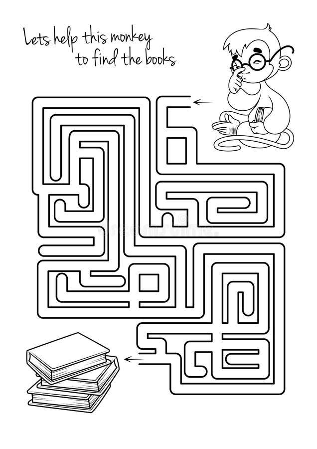 孩子的迷宫比赛与猴子和书 库存例证