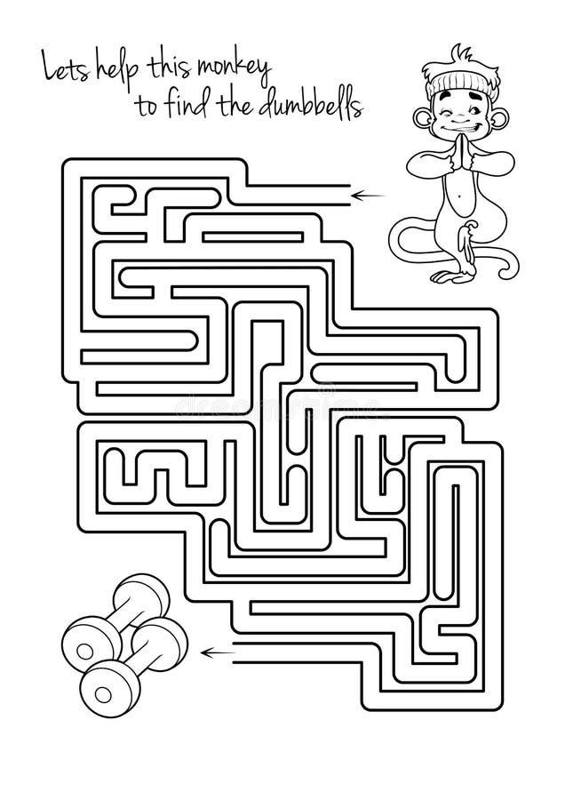 孩子的迷宫比赛与猴子和哑铃 库存例证