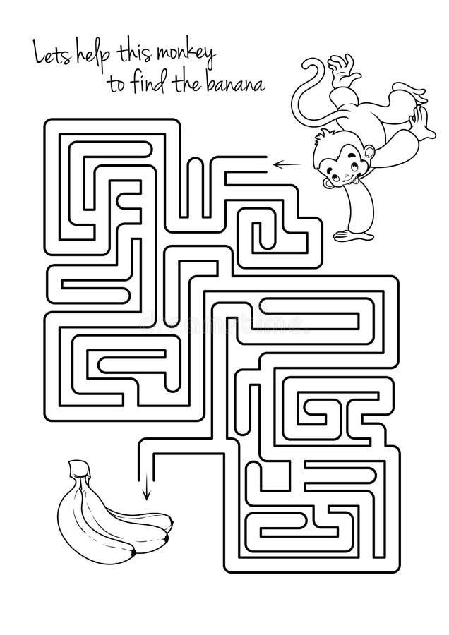 孩子的迷宫比赛与猴子和香蕉 库存例证