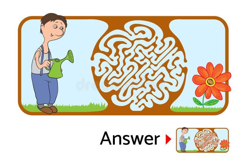 Download 孩子的迷宫难题与花匠和花 迷宫例证,包括的解答 向量例证. 插画 包括有 失去, 选择, 复杂, 挑战, 奥秘 - 72352573