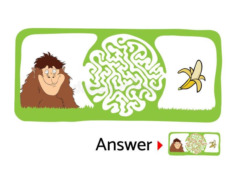 Download 孩子的迷宫难题与猴子和香蕉 迷宫例证,包括的解答 向量例证. 插画 包括有 抽象, 难题, 图象, 失去 - 72352649