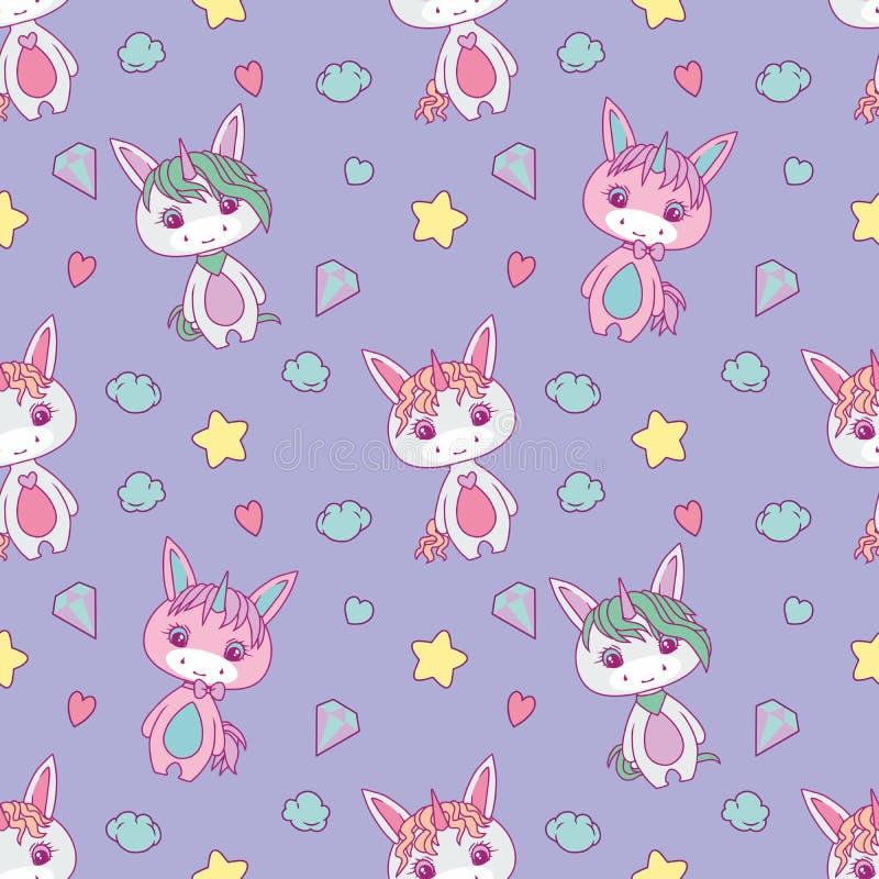 孩子的逗人喜爱的无缝的样式有胖的白色动画片独角兽、星、心脏、金刚石和云彩的在浅紫色的backgrou 库存例证