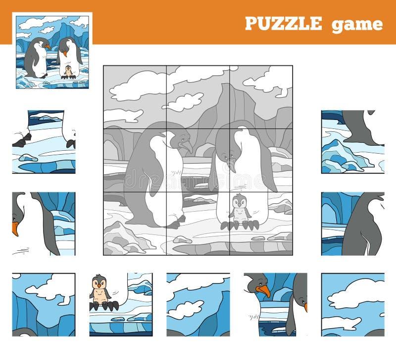 孩子的难题比赛有动物的(企鹅家庭) 库存例证