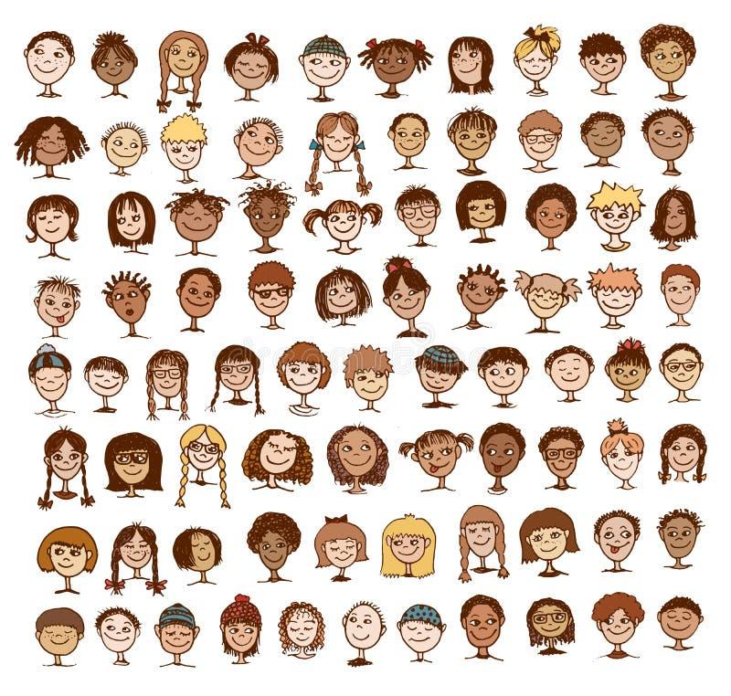 孩子的面孔的汇集 库存例证