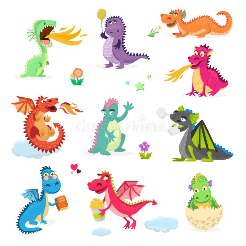 孩子的龙动画片传染媒介逗人喜爱的蜻蜓迪诺字符小恐龙 向量例证