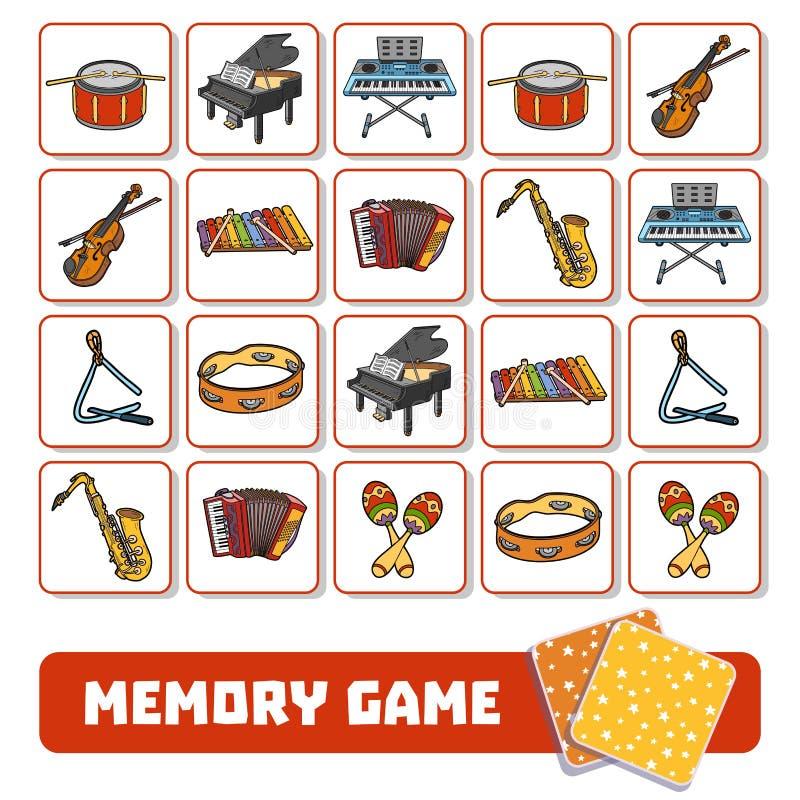 孩子的,与乐器的卡片记忆比赛 向量例证