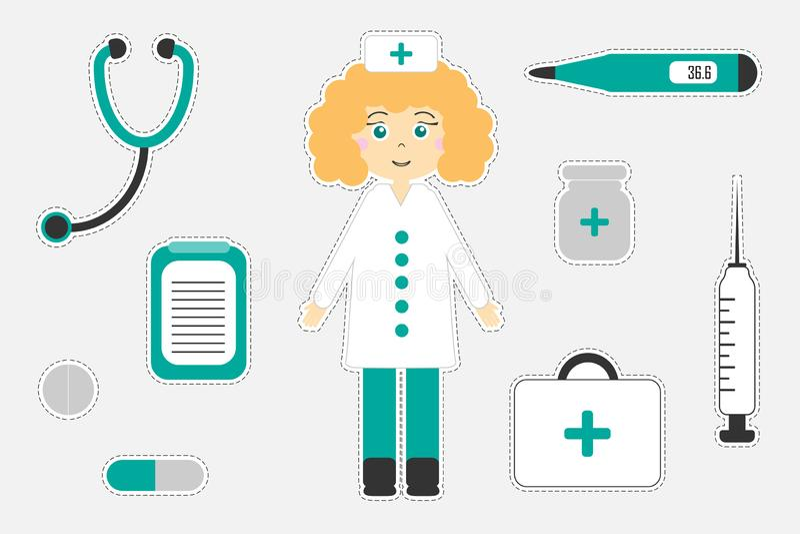 孩子的,乐趣孩子的教育比赛,学龄前活动,套不同的五颜六色的医疗图片贴纸, 向量例证